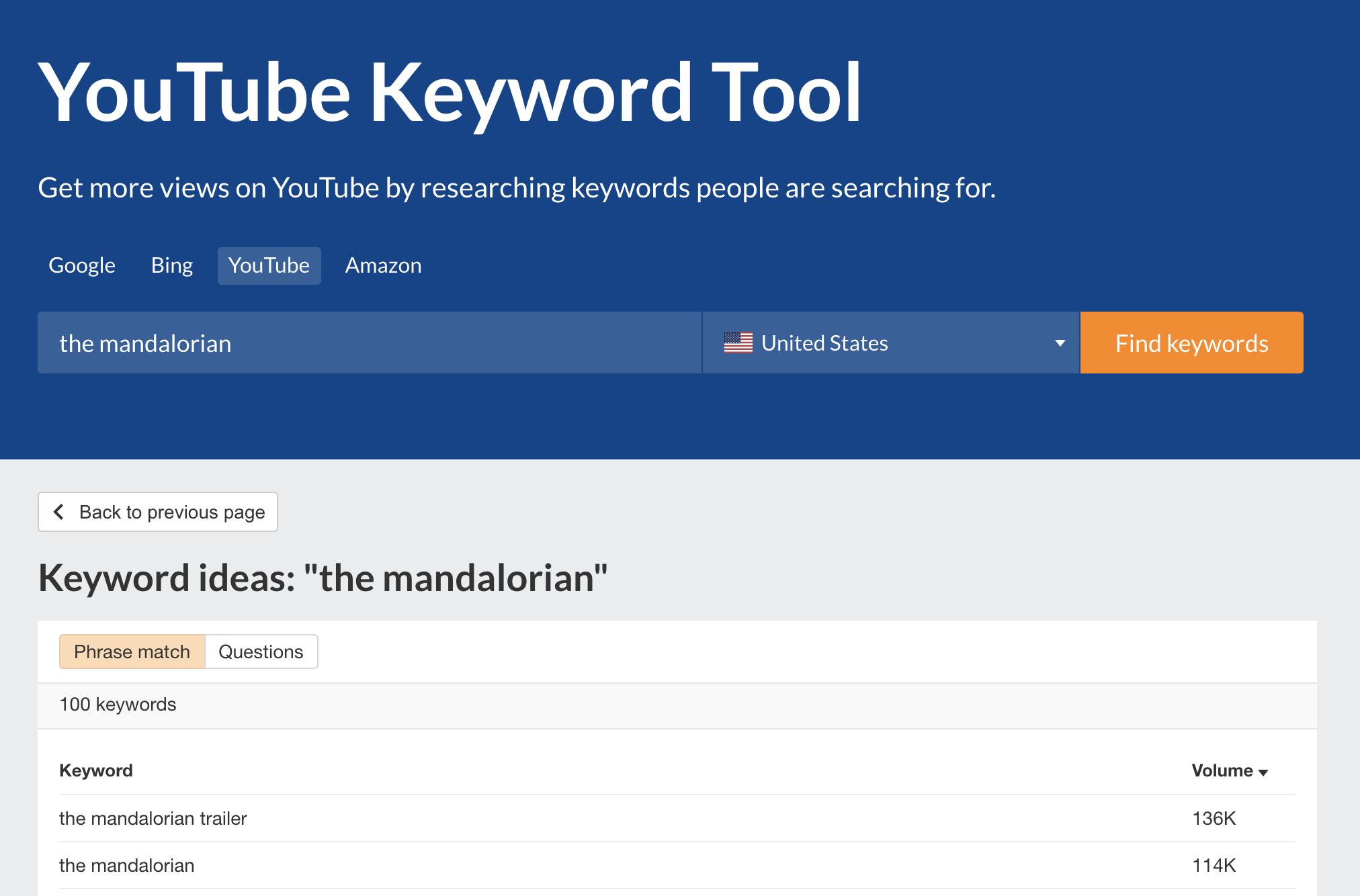 YouTube keyword generator