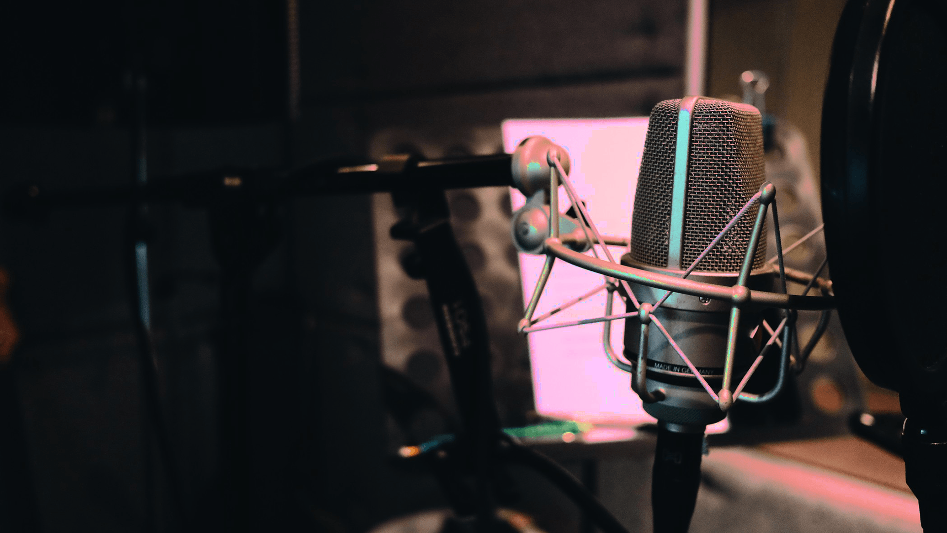 Condenser mic in a studio